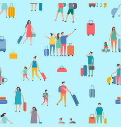 travellers people with suitcase and bags vector image