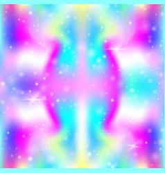 unicorn seamless background with rainbow mesh vector image