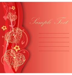 Valentine day card with hearts and flowers vector image vector image