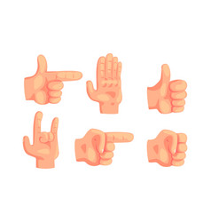 various hand gestures set human hand showing vector image