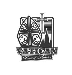 Vatican icon pope tiara catholic crucifix symbol vector