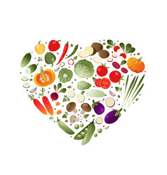 Vegetables in shape of heart vector