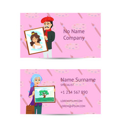 Visual art studio business card layout vector