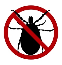 Warning sign harvest bug in a red circle vector image