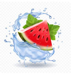 Watermelon in water splash realistic fruit icon vector