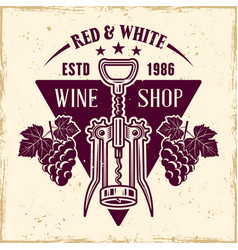 Wine emblem in vintage style with corkscrew vector