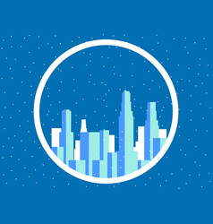 winter city with skyscrapers snow-covered vector image