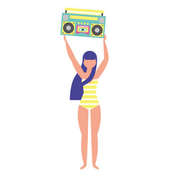 Woman in swimsuit holding stereo radio vector