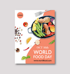 World food day poster design with peas lemon vector