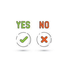 Yes no simple icons vector