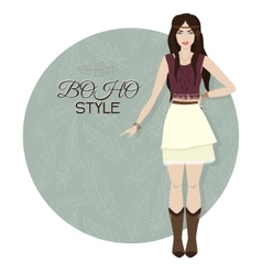 Young beautiful woman Boho style fashion girl vector