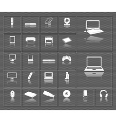 Computer electronic tv and media device icons set vector image vector image