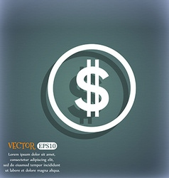 Dollar icon sign On the blue-green abstract vector image
