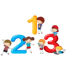 font design for numbers one to three vector image