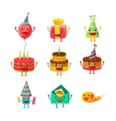 Happy Birthday And Celebration Party Symbols vector image vector image