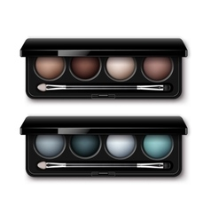 Set of multicolored eye shadows makeup applicator vector