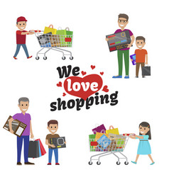 we love shopping idea set of people with articles vector image vector image