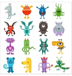 Cartoon cute color monsters aliens collection vector image
