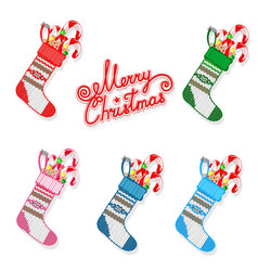 christmas sock with sweets set vector image vector image