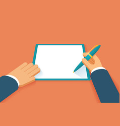 Hands sign contract vector image vector image
