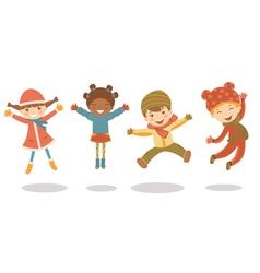 Jumping winter kids vector image