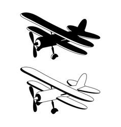 retro biplane in monochrome vector image