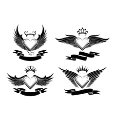 Winged Hearts Set vector image vector image