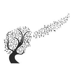 black music note tree vector image