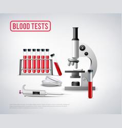 blood testing set background vector image