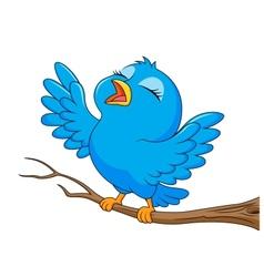 Blue bird cartoon singing vector
