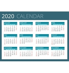 Calendar for 2020 Week Starts Sunday Simple vector image