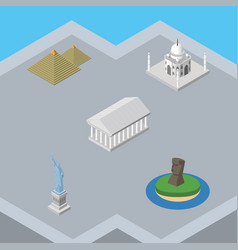 isometric architecture set of chile egypt new vector image vector image
