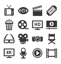 movie cinema icons set vector image
