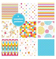 Set of nine rainbow seamless patterns vector image vector image