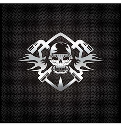 silver crest with skull in helmet and spanners vector image