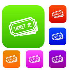ticket set collection vector image vector image