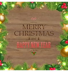 Wooden Background With Christmas Text vector image