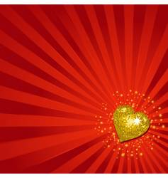 gold Valentine's heart background vector image vector image