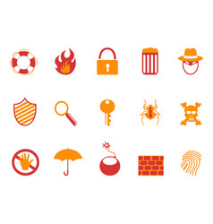 orange and red color security icons set vector image vector image