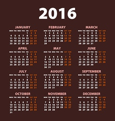 2016 calendar simple design date color vector image