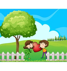 A couple at the hilltop near the wooden fence vector image