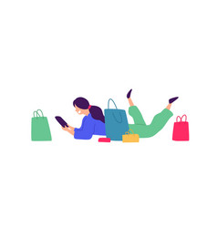 a girl with shopping positive flat in cartoon vector image
