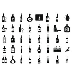 Alcohol bottle icon set simple style vector