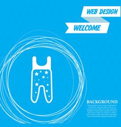Baby pantyhose icon on a blue background with vector