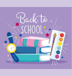 Back to school stack books waych and artisirc vector