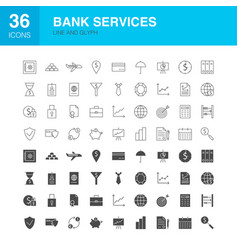 bank services line web glyph icons vector image