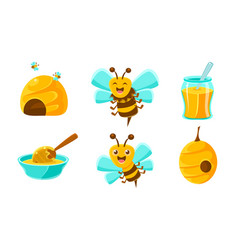 beekeeping set cute funny bee beehive glass jar vector image