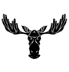 black silhouette a moose head with antlers vector image