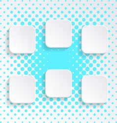 Blank white square buttons vector image