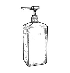 Bottle liquid antiseptic in engraving style vector